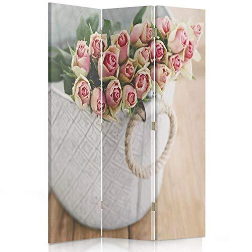 Feeby Frames. Raumteiler, Gedruckten auf Canvas, Leinwand Wandschirme, dekorative Trennwand, Paravent beidseitig, 3 teilig (110x180 cm), Blumen, Rosen, BLUMENSTRAUß, Korb, Tisch