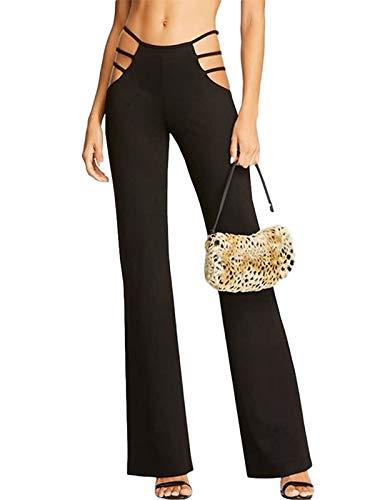 Pantalones de mujer ajustados y elásticos de cintura media, clásicos, para el tiempo libre Negro L