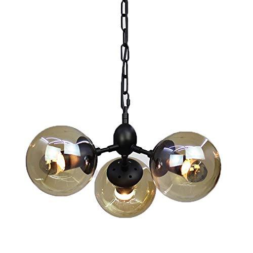 Chandelier de granja Lámparas colgantes de vidrio Linturas nórdicas post-modernas Colgante de metal Linterna de techo con bola Lampshade E27 Edison Sala de estar Lámpara de araña para cafetería Bar Re