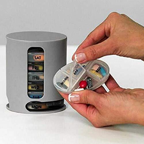 OneMoreT Tablettenbox für 7 Tage, Wochen, Tabletten, Medikamenten-Aufbewahrung, wöchentlich und täglich