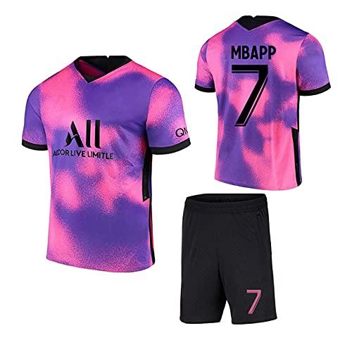 ZJFSL Fußballtrikot Paris Saint-Germain Auswärts # 7 Mbappé Pink Lila Fußballtrikots Set Sporttraining T-Shirt und Shorts Set für Erwachsene und Kinder
