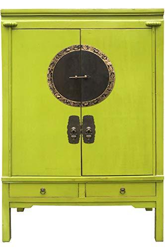 Chinesischer Hochzeitsschrank Schrank Kleiderschrank Aang Grün 170cm hoch | China Vintage kleiner Dielenschrank schmal | Asia Schränke aus Holz massiv für den Flur Schlafzimmer Wohnzimmer oder Bad