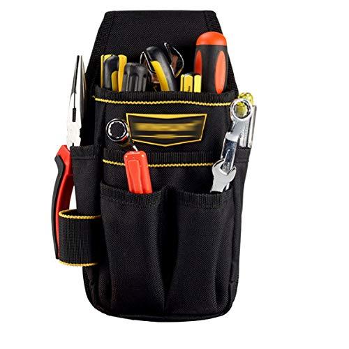LAHAUTE Multifunktionaler Werkzeugtasche/Werkzeuggürtel aus robustem Oxford Stoff, verstellbarer Oxfordgürtel, Handwerker, Tischler (schwarz)