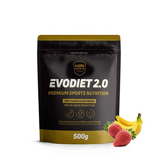 Evodiet de HSN Sports | Batido de Proteinas para Adelgazar, con Té Verde, Carnitina, Efecto Termogénico (Quemagrasas), Mantener Masa Muscular, Vegetariano, Sin Gluten, sabor Fresa-Banana, 500g
