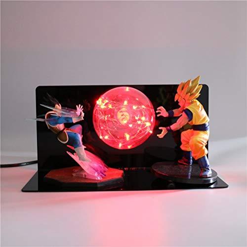 QINGQING Dragon Ball Z Cama lámpara Led Vegeta Goku VS Figura de acción de luz de la Noche de Casa de los Iluminación Decorativa (1 : US(Universal))