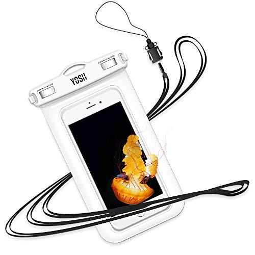 YOSH Custodia Impermeabile Smartphone,IPX8 Custodia Subacquea per iPhone 11 X XS Max 8 7 Plus Samsung Note 8 S9 S8+ Huawei P10 P20 Tutti i Dispositivi Fino a 6,8 Pollici Nuova Versione(Bianca)