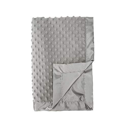 Pro Goleem Grey Baby Soft Minky Dot Blanket with Silky Satin Backing Gifts for