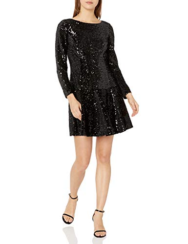 Eliza J Women's Petite Long Sleeve Velvet and Sequin Dress Cocktail, Black, 8