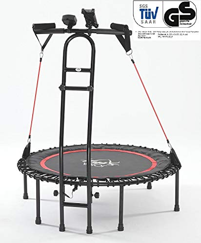 JOKA FIT NEU - die Trampolin-Innovation, Fitnesstrampolin 2.0, mit Sprungzähler, Widerstandsbänder, DVD, Handyhalterung. be fit with