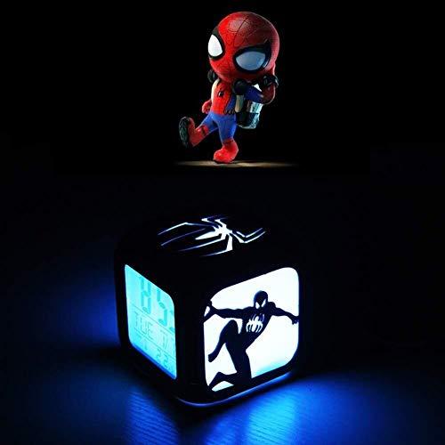 LEYOUDIAN Spider-Man Kreative 3D-Stereo-Wecker LED-Nachtlicht Elektronische Nacht Wecker