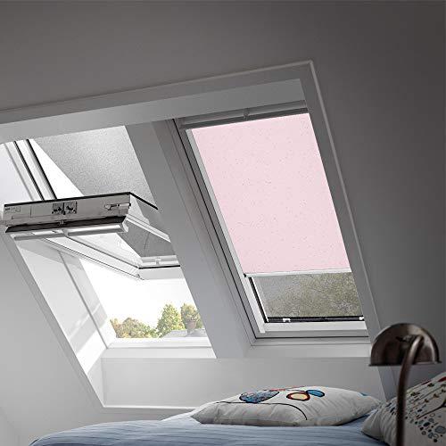 VELUX Original Verdunkelungsrollo für Dachfenster mit weißen Seitenschienen, C02, Rosa Sterne/DKL C02 4659SWL