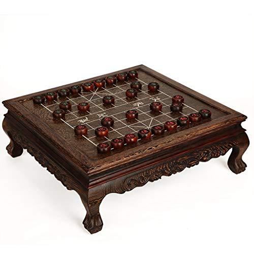 QIFFIY Juego de mesa de ajedrez de caoba para adultos tablero de ajedrez de madera maciza de gama alta de lujo colección grande juego de ajedrez