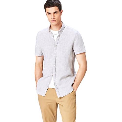 find. Short Sleeve Linen Camicia, Grigio, M
