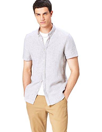 find. Herren Slim Fit Hemd Short Sleeve Linen Einfarbig, Grau (Grey), X-Large (Herstellergröße: X-Large)