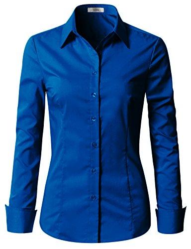 EZEN Womens Casual Dress Shirts Long Sleeve Blue 2XL