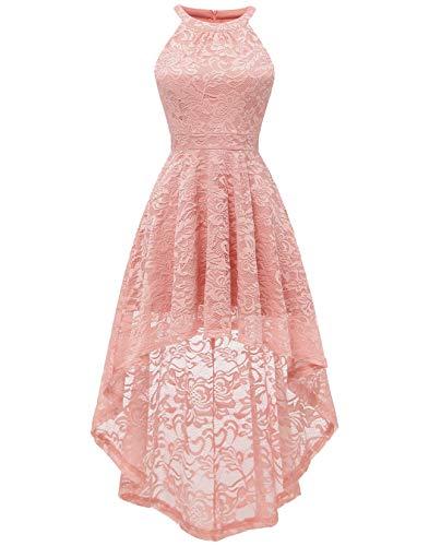 BeryLove Damen Vokuhila Cocktail Kleid Elegant Halter Spitzenkleid Brautjungfern Blumenmuster BLP7028BlushXS