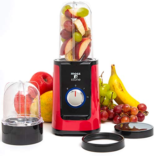 Moss & Stone 2 in 1 Personal Blender with Additional Blender Cups, Smoothie Bullet Blender Maker for Frozen Fruit, Baby Food, Spices (Red & Black)