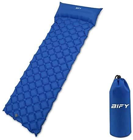 BIFY Isomatte Camping Schlafmatte Ultraleicht Kleines Packmaß. Aufblasbare Luftmatratze für Outdoor Camping, Reise,Trekking und Backpacking (Dunkelblau mit Kissen)