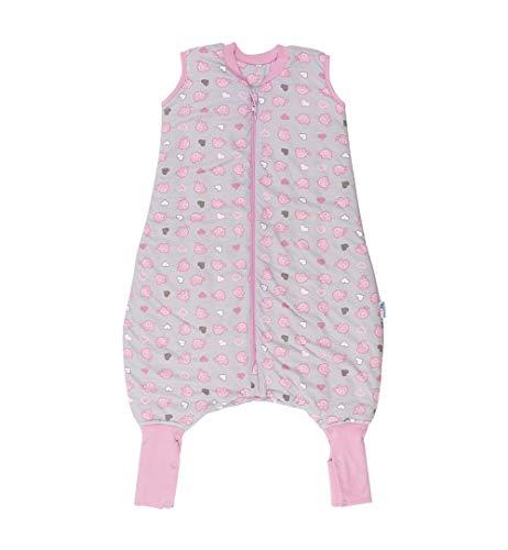 Schlummersack Schlafsack mit Füßen ganzjährig in 2.5 Tog mit verlängerten Fußbündchen zum Umklappen - Rosa Elefanten - 90 cm