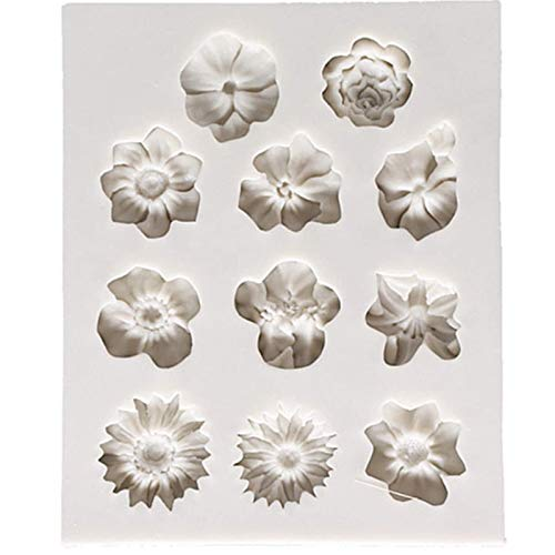 Flowers Shape Silicon Mold Cake Border Cake Stamp Fondant Mold DIY Fondant Mold Cakes Cookies Pastries Mold for Cake Decoration Making (Gray)