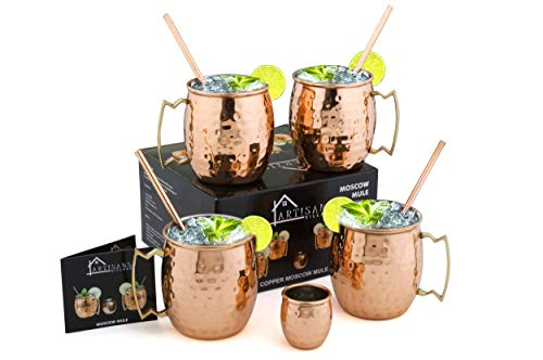 Moscow Mule Copper Mugs, Food-safe Copper Mugs, Mug with Brass Handle & Stainless-Steel Lining, with Copper Straws, Jigger and Shot Glass (Hammered) - 16 oz