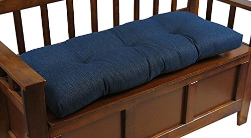 The Gripper Non-Slip Tufted Omega Universal Bench Cushion, 36', Indigo