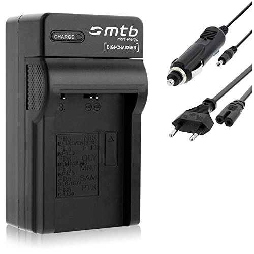 Ladegerät (Netz, KFZ) kompatibel mit Fuji NP-150, Konica Minolta NP-400, Pentax D-Li50, Samsung SLB-1674. - Siehe Kompatibilitätsliste!