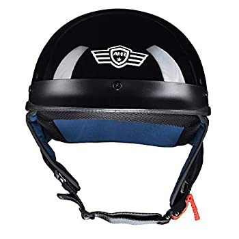 AHR Run-C Half Face Helmet DOT Approved Bike Cruiser Chopper High Gloss Black L