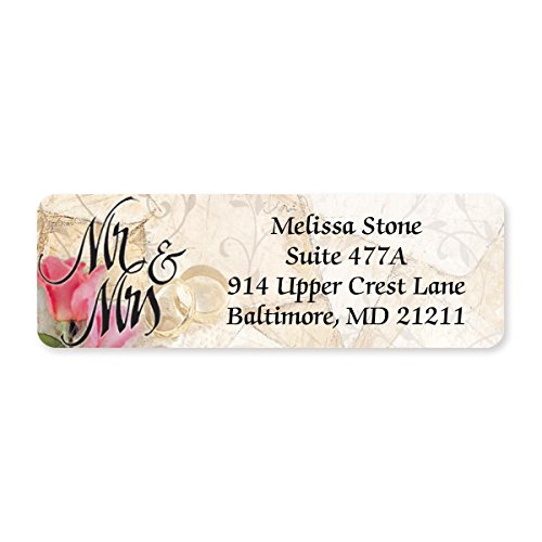 Mr. and Mrs. Romance Designer Rolled Address Labels - 500 Labels per Roll - 2 1/2 Inches Long x 3/4 Inch High - Elegant Plastic Dispenser Included