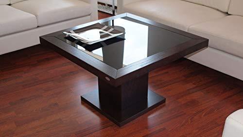 Design Couchtisch Tisch S-360 Walnuss/Wenge getöntes Glas Carl Svensson