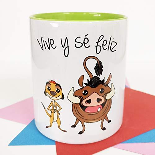 LA MENTE ES MARAVILLOSA - Taza Frase y dibujo divertido (Vive y sé Feliz) Taza Timón y Pumb