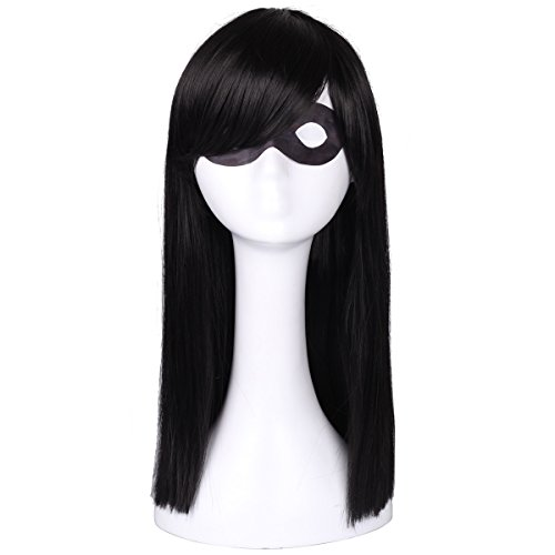 ColorGround Kids Long Straight Black Natural Cosplay Wig