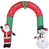 Bakaji Arco Gonfiabile Babbo Natale e Pupazzo di Neve Con Luci a LED Altezza 250 cm Sistema Autogonfiabile Protezione IP44 Addobbo e Decorazione Natalizia da Esterno