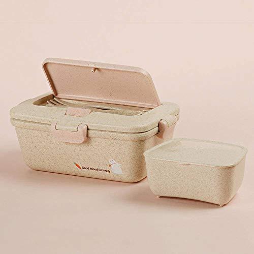 N-B Caja de almuerzo de paja de trigo Eco amistoso lindo conejo Bento Box contenedor de almacenamiento de alimentos microondas con cuchara