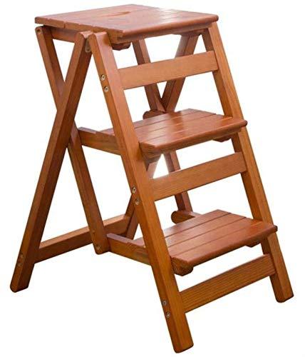 GDFEH Escalera plegable de madera, 3 pasos, ligera, para cocina, oficina, cocina, uso en el hogar, peso: 150 kg (150 kg) (color: color nogal)