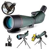 USCAMEL 20-60x80 Telescopio Terrestre,HD Prueba de Agua Prisma BAK4 Telescopio,Telescopio terrestre Potente con Trípode、Clip de teléfono para Observación de Aves,el Tiro,la Caza