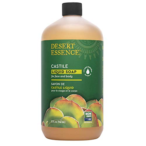 Desert Essence Castile Liquid Soap With Eco-Harvest Tea Tree Oil - 32 Fl Oz - Face & Body Cleansing - Coconut & Olive Oil - May Diminish Imperfections & Help Reduce Oil -  DtE-863522