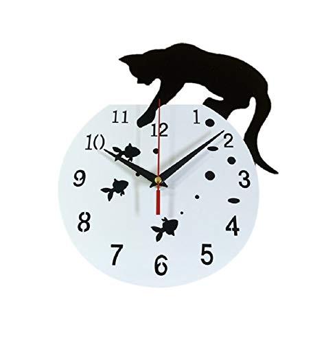 黒猫 壁掛け時計 ホワイト 壁時計 ウォールクロック おしゃれ インテリア 子猫 金魚 猫グッズ 金魚鉢 水槽 装飾 リビング 寝室 飾り物 プレゼント 贈り物