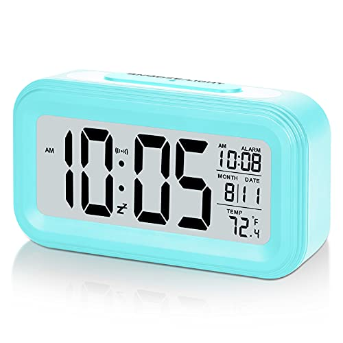SZELAM Battery Digital Alarm Clock,LCD Clock Electronic for Bedroom Home Office , with Date,Indoor Temperature,Snooze Light,Small-Sized, Backlight,Kids-Blue