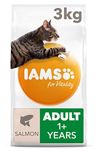 IAMS for Vitality Adult Dry Cat Food with Salmon, 3 kg