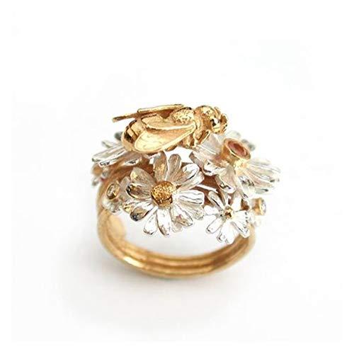 Los hombres del anillo de lujo Cubic Zirconia anillos de boda de la manera flor Abeja anillo de compromiso for cristales europeos muchachas de las mujeres anillo de regalo Anillo de moda