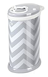 Ubbi Steel Odor Locking Diaper Pail, Gray Chevron