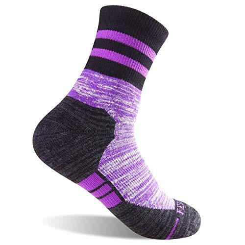 FEIDEER Women's Hiking Walking Trekking Camping Socks, 5 Pairs Outdoor Recreation Socks Comfortable Breathable Wicking Cushion Crew Socks(18205-L)