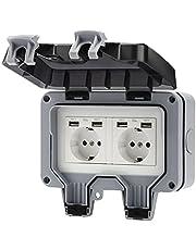 AYYDS Buitenstopcontact met USB-aansluiting, IP66, weerbestendig, tuincontactdoos, opbouw, geaard contact voor binnen en buiten, met klapdeksel