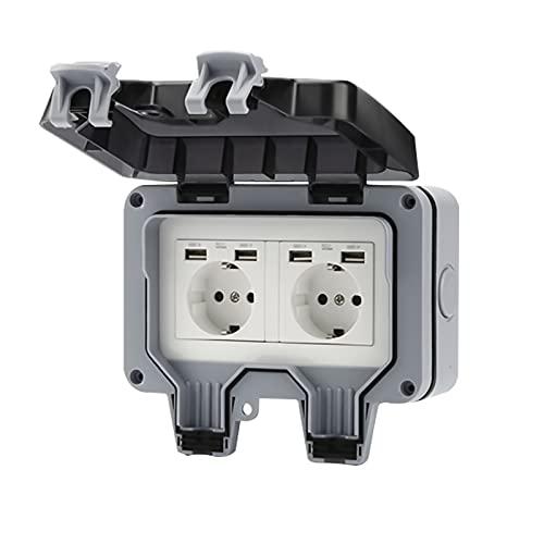 AYYDS Enchufe exterior con conector USB IP66, resistente a la intemperie, enchufe de jardín, protección de contacto para interior y exterior con tapa abatible.