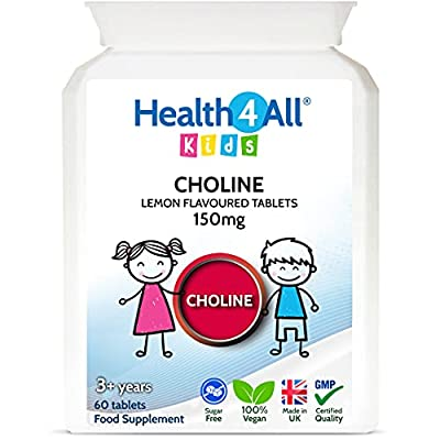 Kids Choline 150mg Chewable 60 Tablets Vegan Children's Supplement to Support Memory and Learning. Made in The UK by Health4All