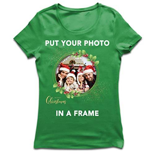 lepni.me Camiseta Mujer Marco Personalizado Vacaciones de Navidad Regalo Personalizado Foto Familiar (Medium Verde Multicolor)