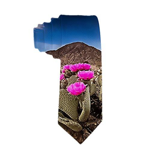 Corbata clásica para hombres Corbata tejida Cactus con flores de colo
