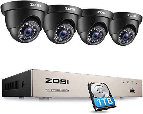 ZOSI 8CH 1080P H.265 + DVR con telecamera di sorveglianza esterna da 1 TB HDD 2.0MP, avviso istantaneo e APP gratuita per accesso remoto