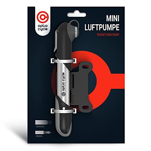 Optio Cycle Mini Fahrradpumpe Luftpumpe Fahrrad für Presta und Schrader Ventile Hoher Druck 120 PSI (8,3 Bar) Kleine Tragbare Handpumpe Pumpe Alle Ventile für Fahrrad Rennrad
